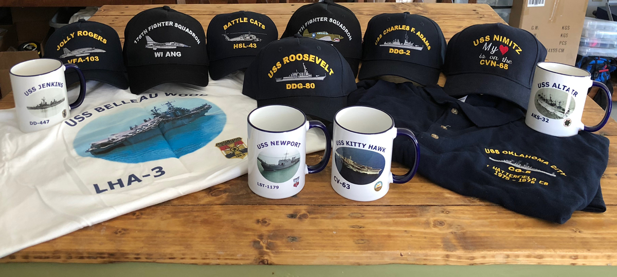 Navy Pictures - Embroidered US Navy Ship Hats, Photo Shirts and Coffee Mugs, & More